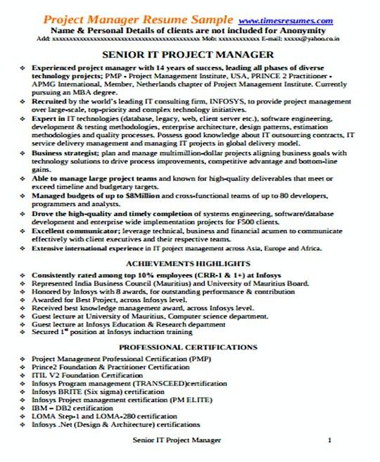 Sample It Project Manager Resume Certified Project Manager Resume