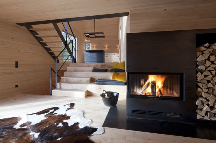 Cozy open lounge, Holiday house Girardi, designed by by Philip Lutz ZT-GmbH, Bregenz Forest, Austria