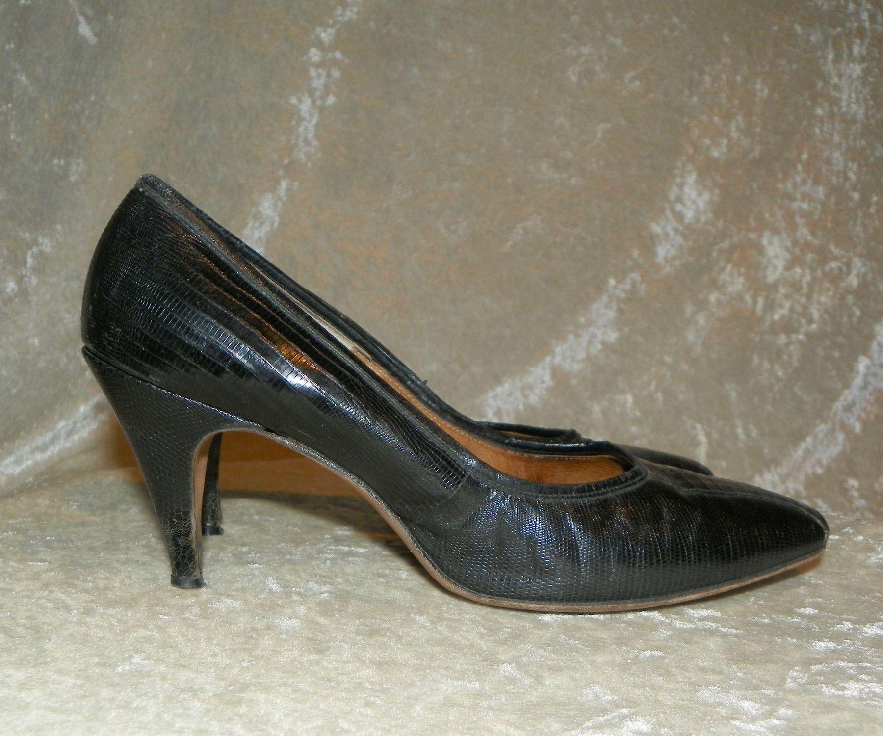 bc8cb8c9a936d Shoes Juliana Black Lizard Reptile Leather High Heels 195…   Vintage ...