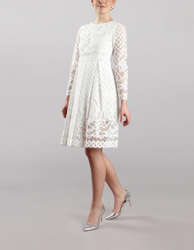 Kurzes und schlichtes Langarm-Brautkleid für das Standesamt ...