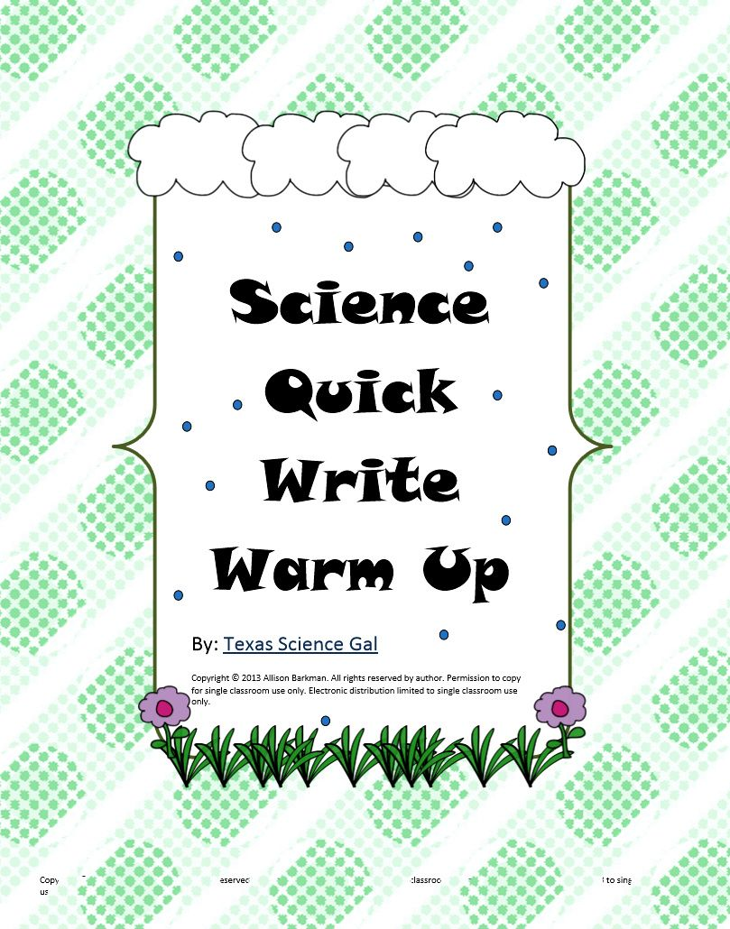 Science Quick Writes Set 1 for Grades 5-9 | science ideas