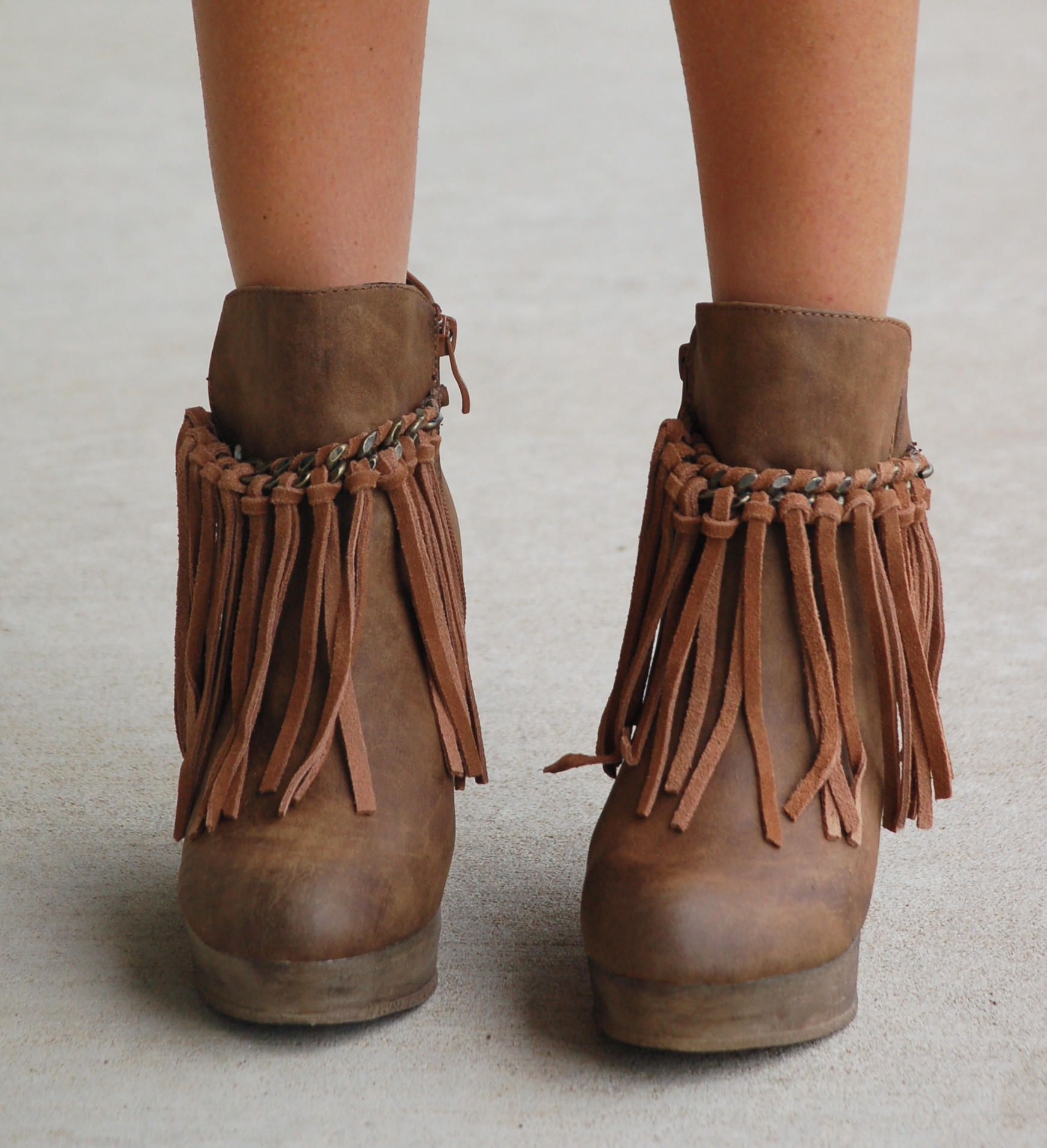 727973528e6 Fringe Zepp Wedge Bootie - Taupe from ShopbellaC. Saved to boots. Shop more  products from ShopbellaC on Wanelo.