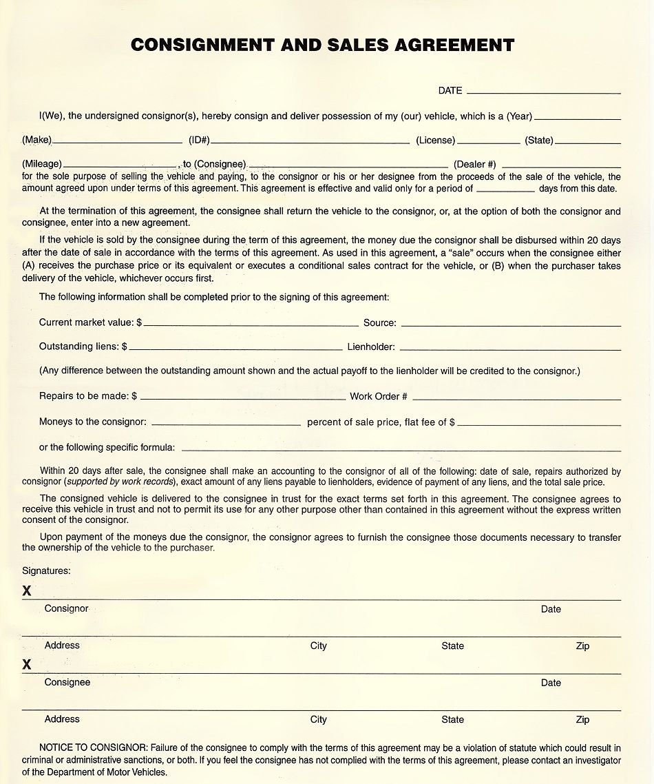 car selling agreement form