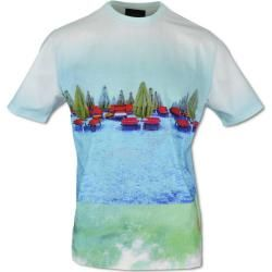 Photo of Modernes Print-T-Shirt, Blau Carlo Colucci
