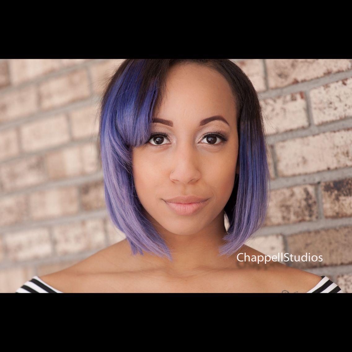 Purple hair Bob hairstyles for black women