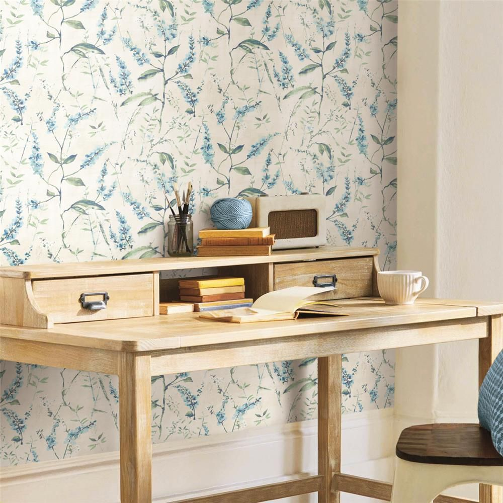 Blue Floral Sprig Peel & Stick Wallpaper by RoomMates for