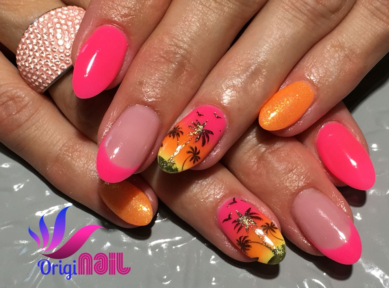 Ombre Sunset Nail Design Neon Orange And Pink French Nails Star In