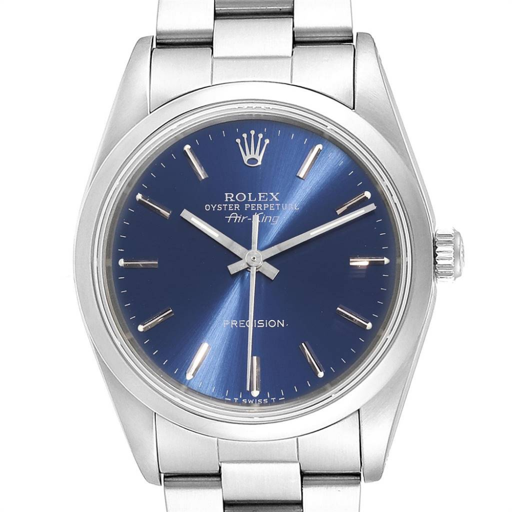 Rolex Air King 34 Blue Baton Dial Automatic Steel Mens