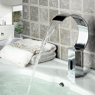 Contemporary Bathroom Sink Waterfall Automatic Faucet with Sensor ...
