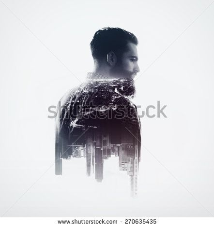 Double exposure concept with bearded man and city