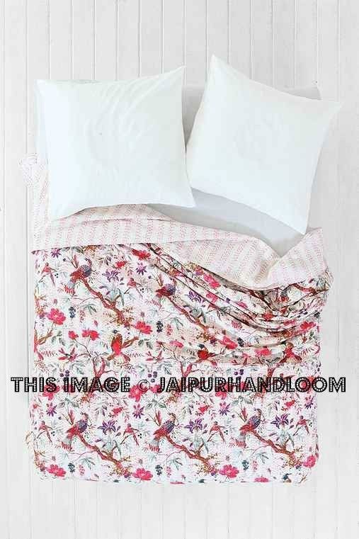 Decorative Quilts & Bedspreads Bedding Kantha Quilt Black Ikat Indian Cotton Handmade Bedspread Queen Size Gudari