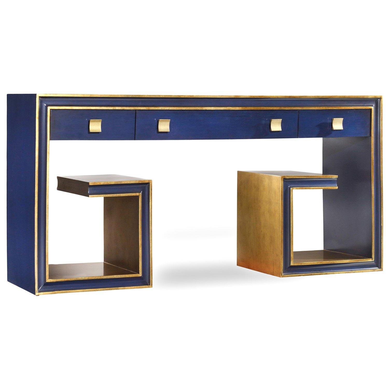 Bon Hooker Furniture 638 85192 Melange Greek Key Console In Blue