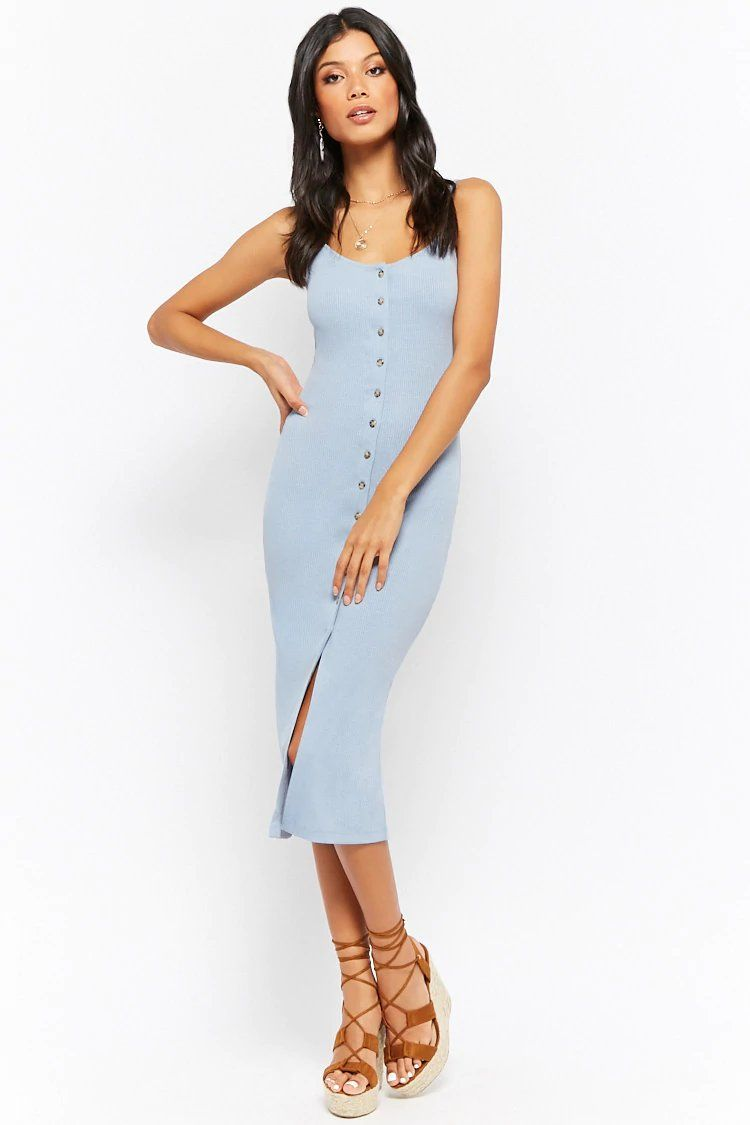 d389aaba0e4c Button-Down Ribbed Cami Midi Dress in 2019 | Clothes | Cami dress ...