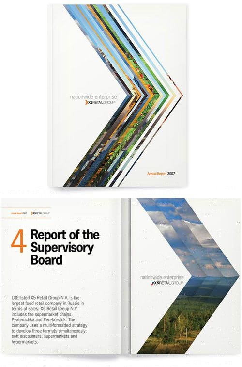 It appears that the arrows on the cover are representative of each of the sections of the report. This is a really cool idea.