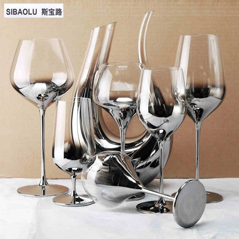 Wine Glasses Set Luxury Silver Crystal Wineglass Set Wine Decanter Set Wine Cups For Party Wedding Decoration Home De Decanter Set Wine Decanter Set Wine Glass