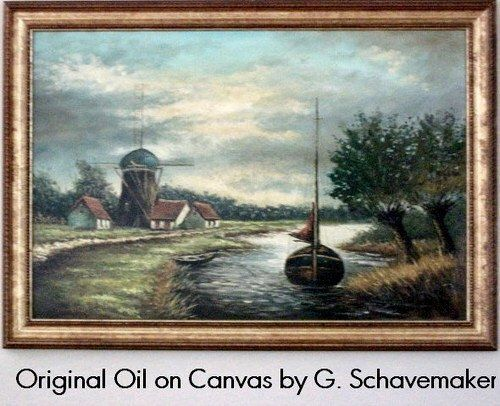 """20th Century Danish Oil on Canvas by G. Schavemaker. The low horizon is a typical feature in Dutch landscape painting, allowing the subtly colored cloudy sky to form an important part of the composition. This watery landscape near Zaandam features a Dutch farm house, mill, and two boats is beautifully executed reminiscent of the Dutch master of the 18th and 19th century (The Claude Monet painting """"A Windmill"""" was painted near Zaandam in 1871). Zaandam was a large milling center. Thousands of…"""