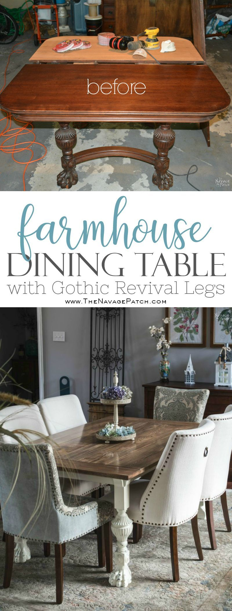 Farmhouse Dining Table With Gothic Revival Legs