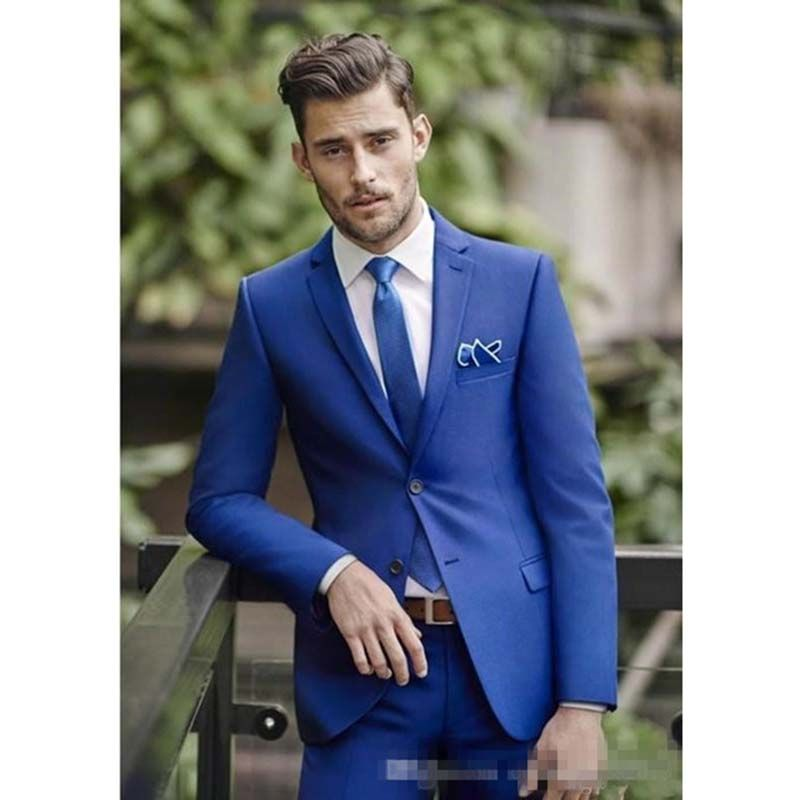 2017 slim fit royal Blue Wedding Mens Suits Slim Fit Bridegroom ...