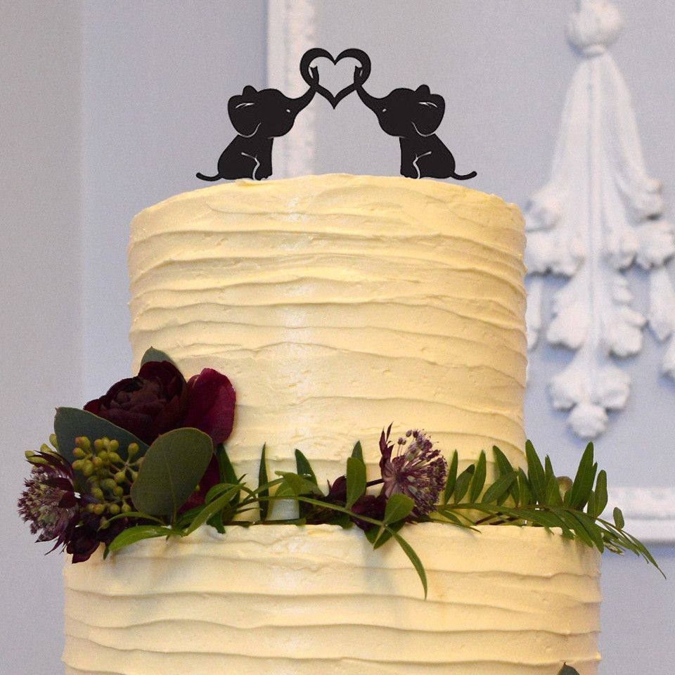 Elephant wedding cake topper cute ulovely animals sweet love heart