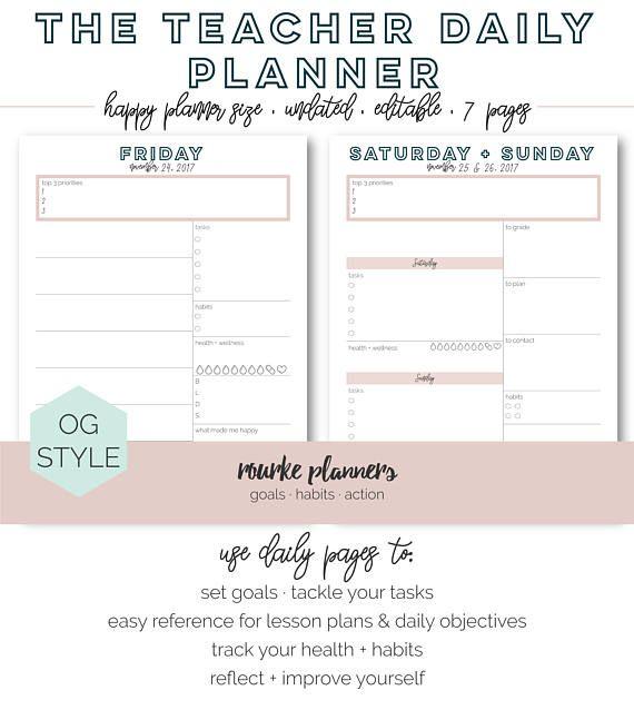 teachers daily planner