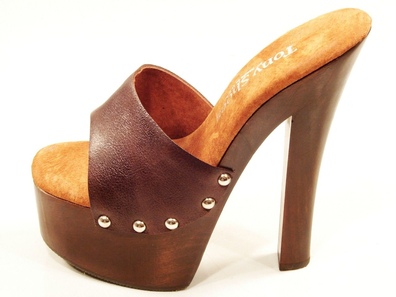 ba31ae45110d8f TONY SHOES CANDY BROWN HIGH HEEL WOOD PLATFORM SLIP ON MULES SANDALS CLOGS.