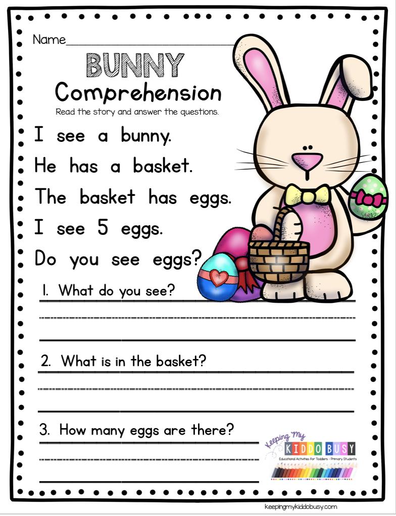 medium resolution of Kindergarten comprehension worksheet for easter spring#comprehension  #easter #kindergarten #spring #worksheet   Ingilizce dilbilgisi
