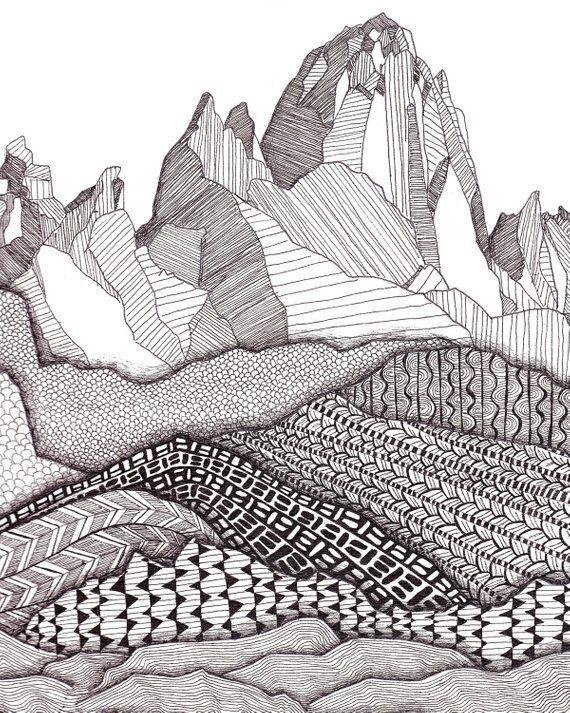 Patterns on Patagonia Art Print / Mountain Art Print / Giclee Print / Black and White Art / Landscape Wall Art