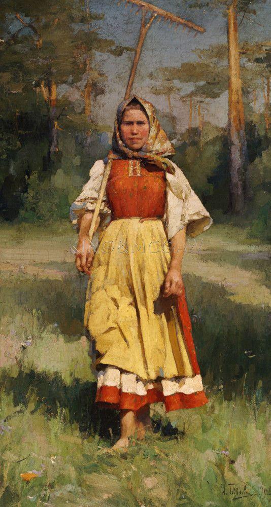 The Village Girl, 1902 Art Print by Ivan Lavrentievitch Gorokhoff at King & McGaw
