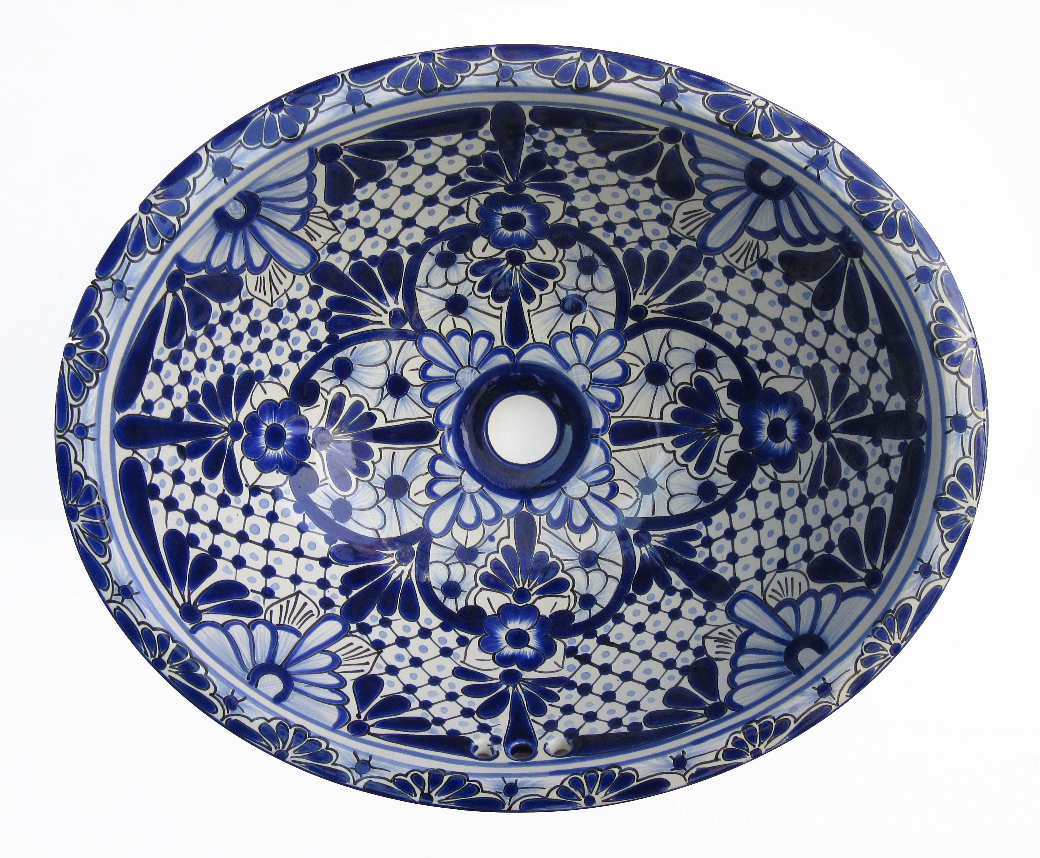 Ceramic Basin Oval Small - A (Blue & White) - Hadeda Tiles