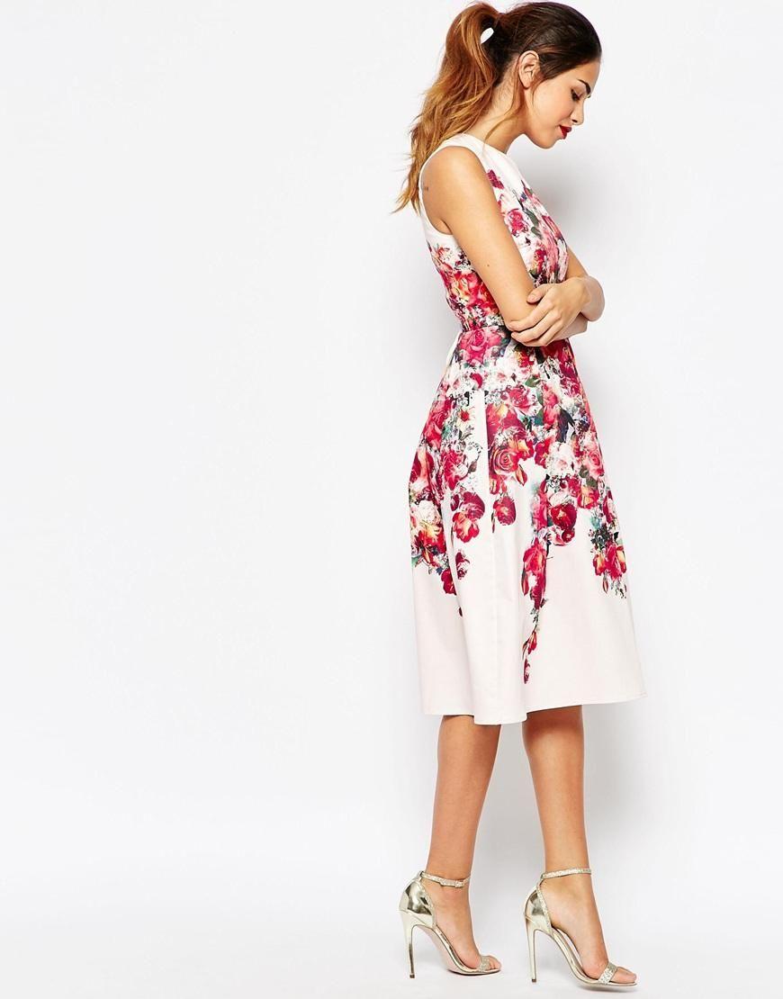 Asos petite asos petite vintage floral bardot midi prom dress with