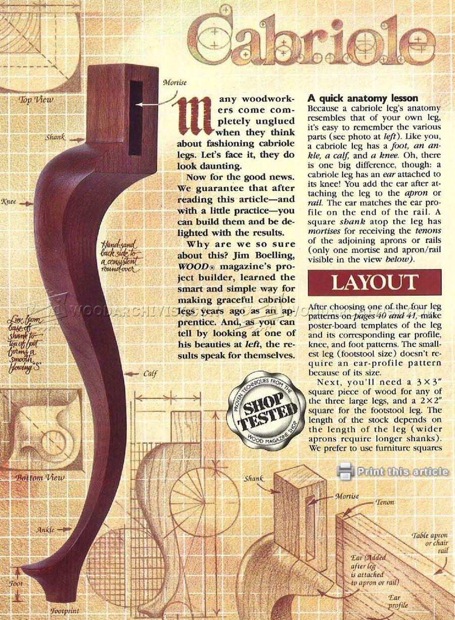 3057 Making Cabriole Legs Furniture Legs Construction