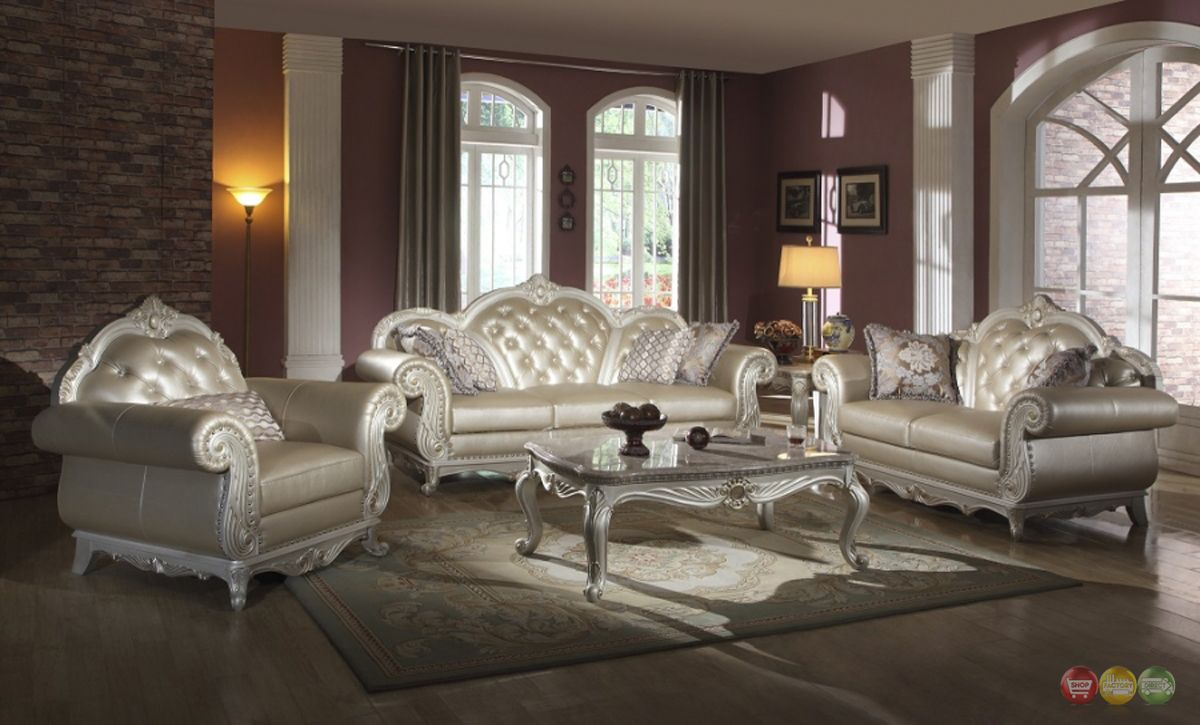 Attractive Details About Elegant Metallic Pearl Button Tufted Leather Formal Living  Room Sofa Set | Traditional, Formal Living Rooms And Living Room Sofa