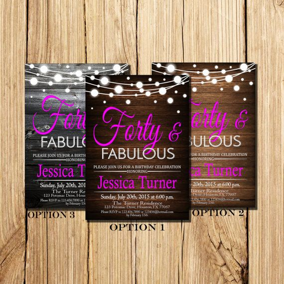 40th BIRTHDAY INVITATIONs For Women Forty & By DigitalLine