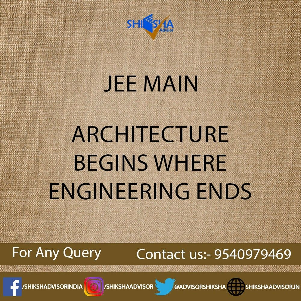 Jee Main 2020 B Arch Admission B Tech Admission In 2020 Career Guidance Career Assessment Guidance
