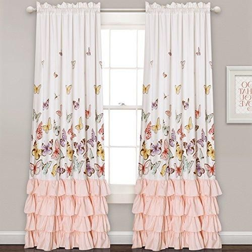S Light Salmon Pink White Flutter Erfly Window Curtain Set 84 Inch Nature Pattern Flowing Ruffles Panels Pair Colour Kids Themed