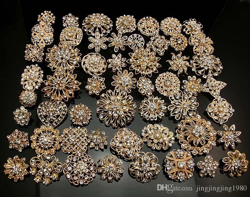 a8ed00eb0 Selecting cheap Wholesale -24Pcs x Rhinestone crystal brooches silver gold  colours brooch pins wedding bridal decor on DHgate.com?