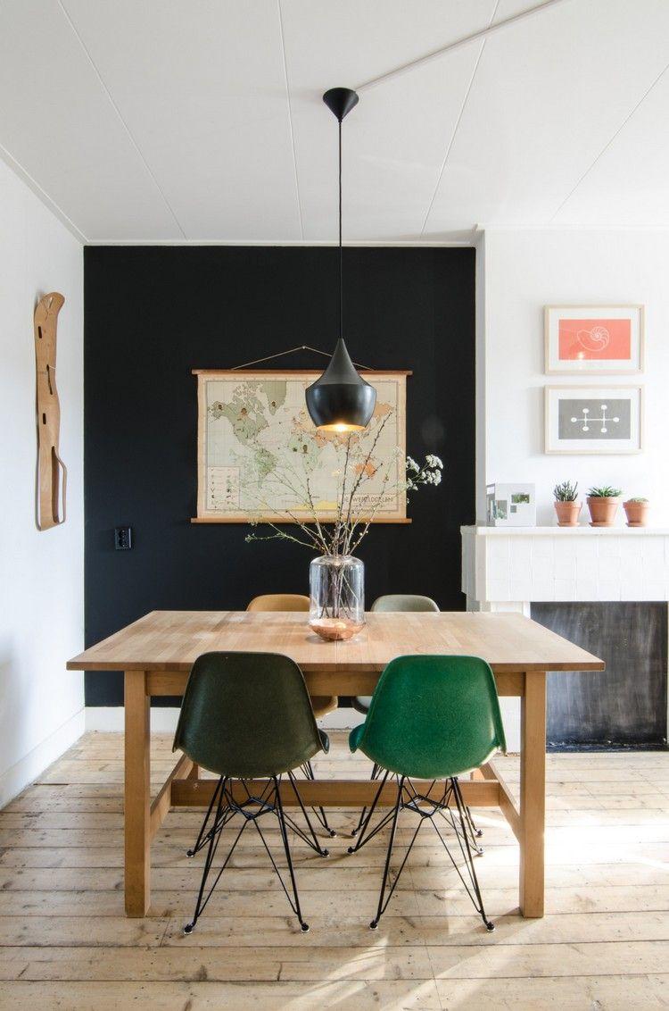 Esszimmer Wand Streichen Ideen Schwarz Wanddeko Weltkarte #innendesign  #interiordesign