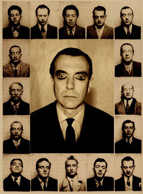 """This is the inner circle of the Paris Surrealists:(top row) Maxime Alexandre, Louis Aragon, André Breton, Luis Bunuel, Jean Caupenne; (second row) Salvador Dalì and Paul Éluard; (third row) Max Ernst and Marcel Fourrier; (forth row) Camille Goemans and René Magritte; (bottom row) Paul Nougé, Georges Sadoul, Yves Tanguy, André Thirion, Albert Valentin. I don't know about the man in the middle."""