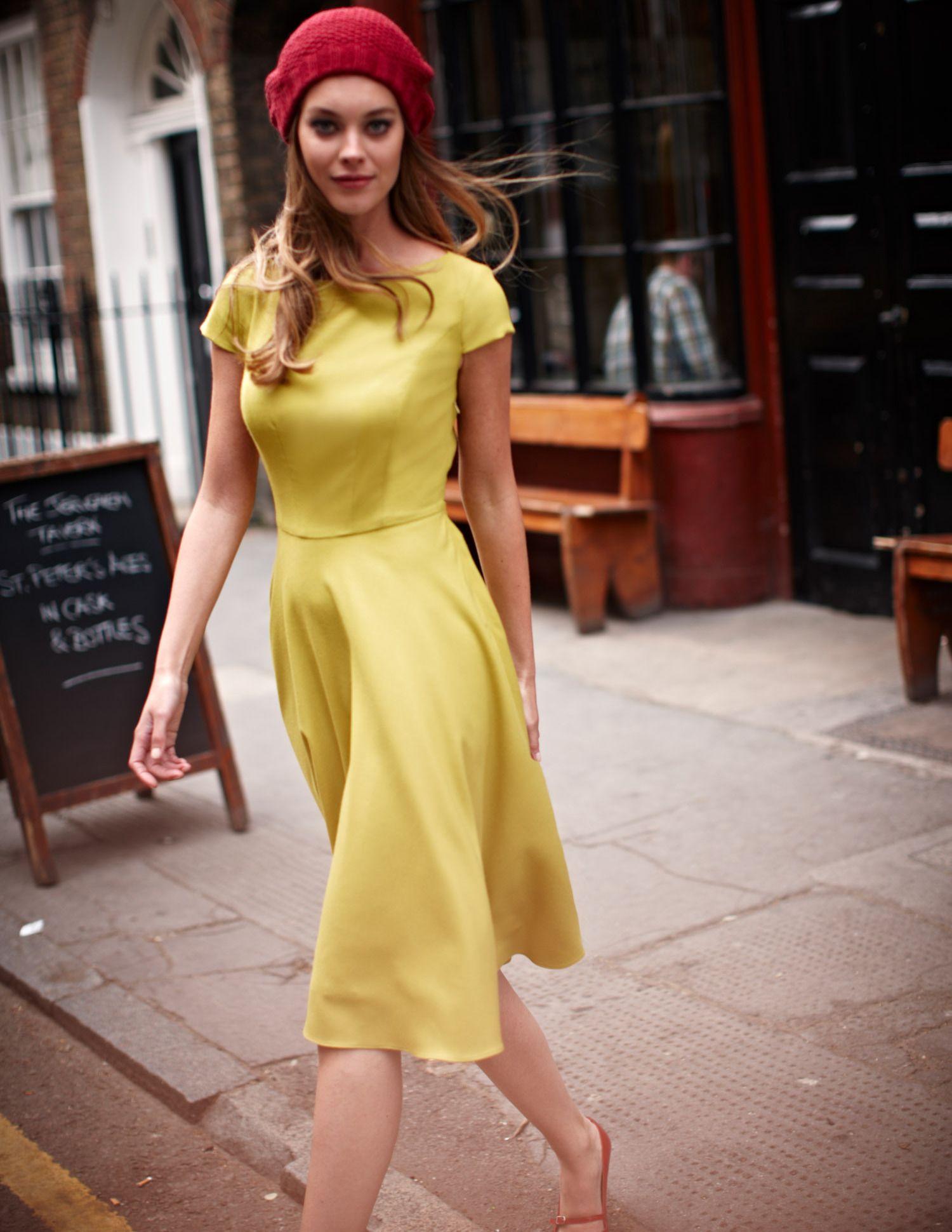 Yellow dress knee length  citron wool frock  covetables  Pinterest  Wool dress Workwear