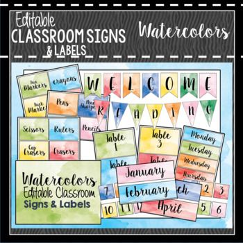 Watercolor Classroom Decor, Signs and Labels Editable Classroom