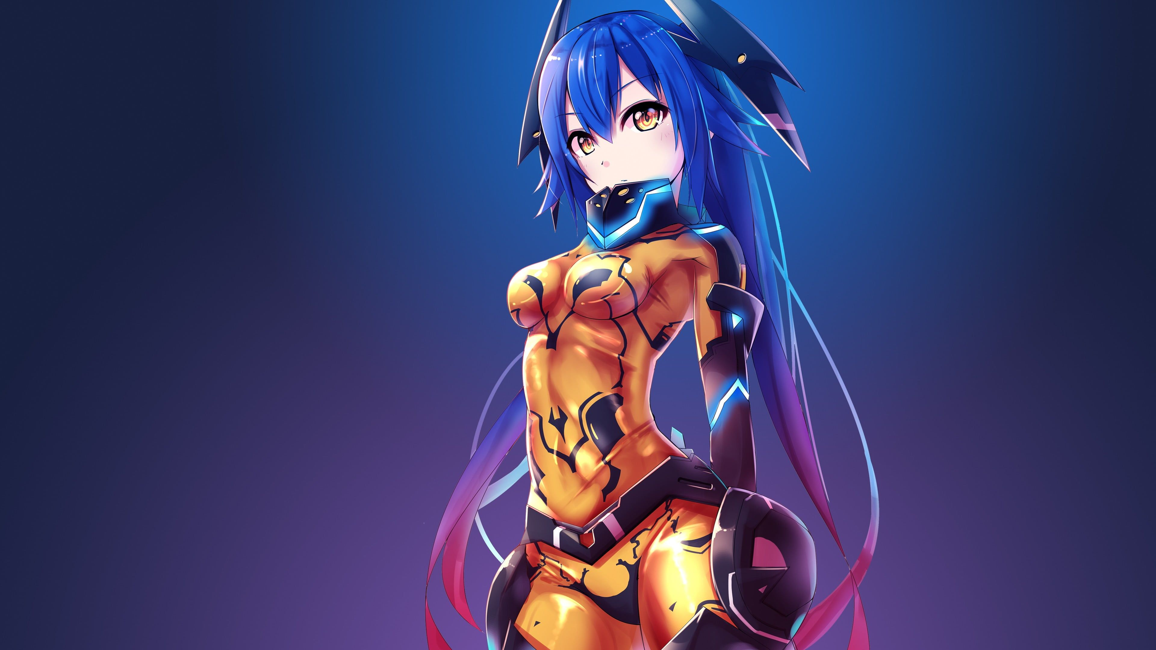 Blue Haired Female Anime Character Illustration Anime Anime Girls