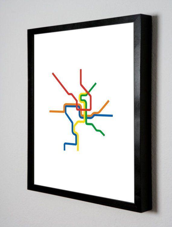 Washington D C Metro Subway Map Line Art 8 5 X 11 Print In
