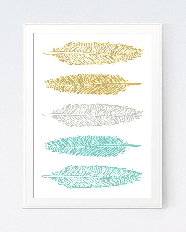 Mustard Turquoise Feathers Art Green And Gold Wall