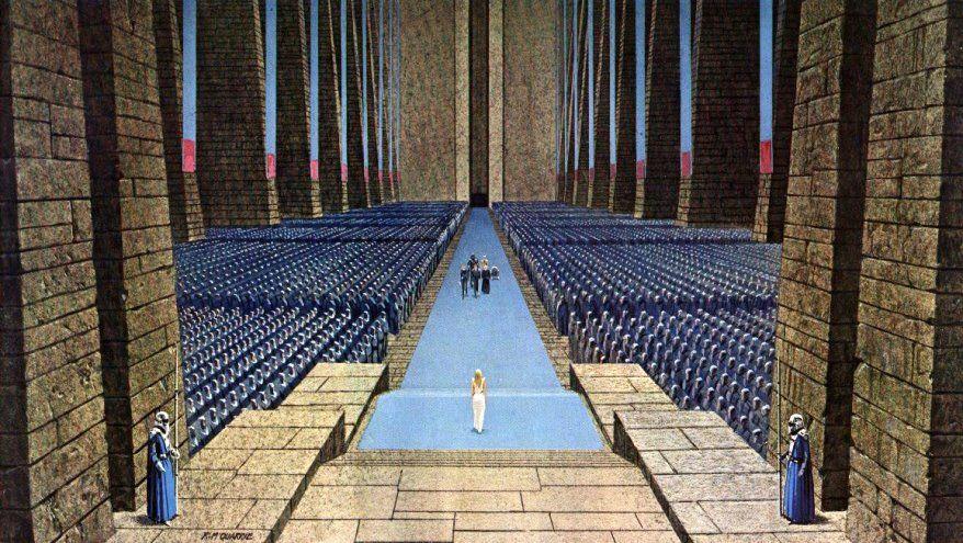 Eine frühe Zeichnung zu Episode IV – Eine neue Hoffnung von Ralph McQuarrie.  http://www.jedipedia.net/wiki/Kategorie:Bilder_von_Ralph_McQuarrie