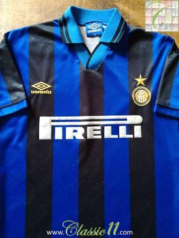 ea3ea1c87 Official Umbro Inter Milan home football shirt from the 1995/1996 season.