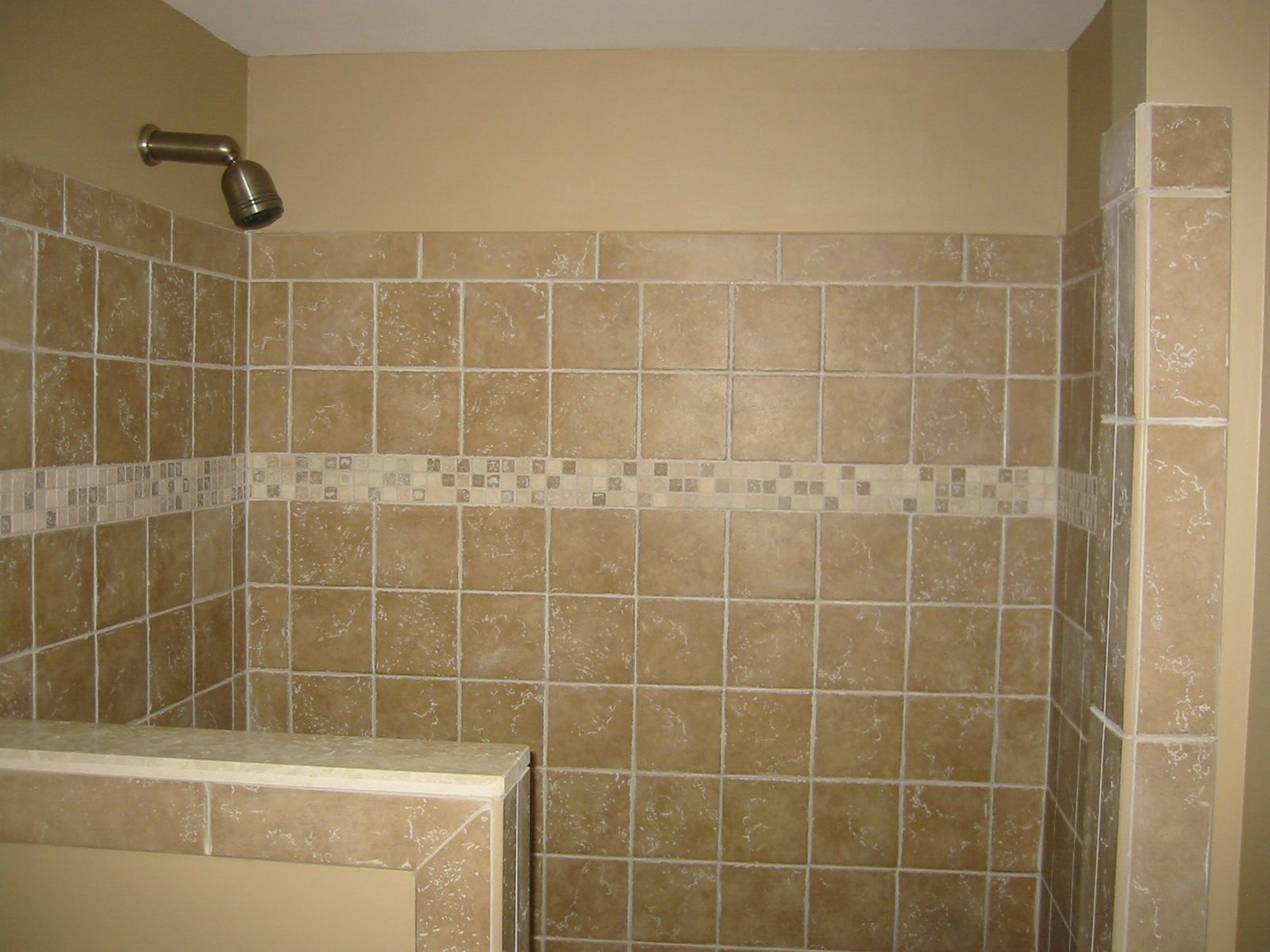 Shower half wall tile bathroom renovations pinterest half walls wall tiles and walls - Small half bathroom tile ideas ...