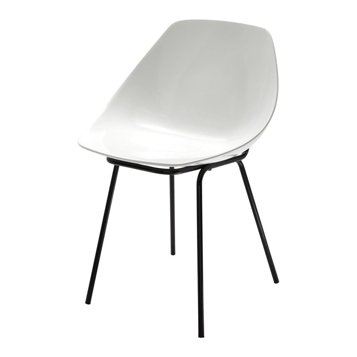 Chaise Guariche En Fibre De Verre Et Metal Blanche Maisons Du Monde Fibre De Verre Chaise Chaises Blanches
