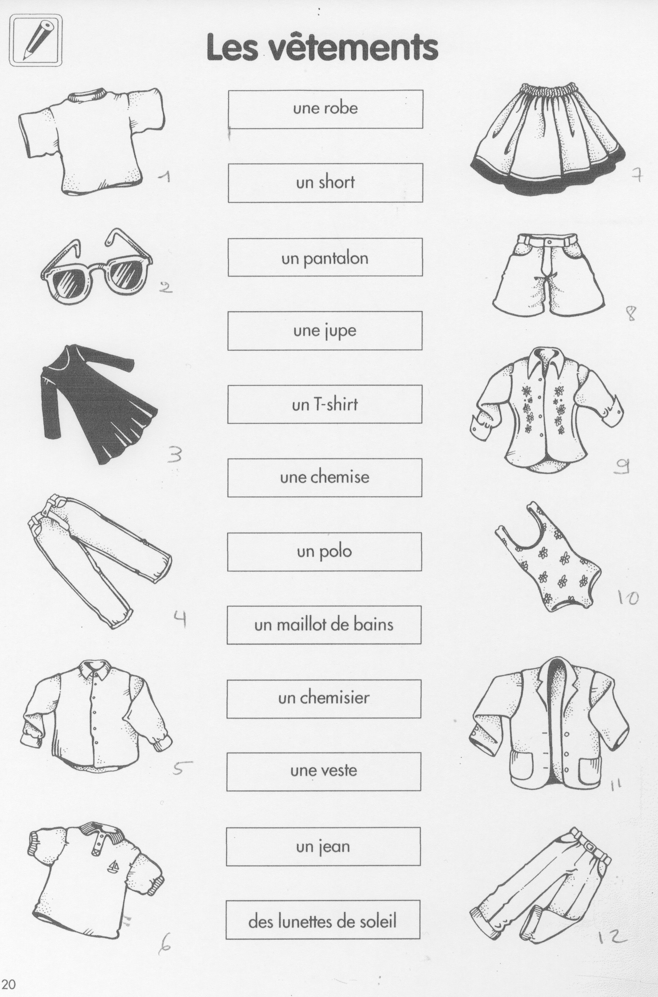 Les v tements exercice fichas franc s pinterest for En y frances ejercicios