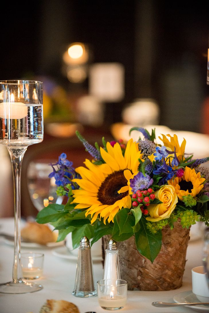 Pin By The Knot On Centerpieces Sunflower Centerpieces