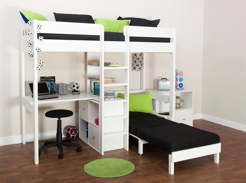 Loft Bed With Futon Chair Bunk Beds Stompa Uno Wooden High Sleeper